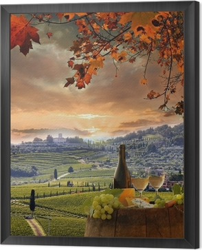 White wine with barell in vineyard, Chianti, Tuscany, Italy Framed Canvas