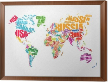 World map in typography word cloud concept names of countries world map in typography word cloud concept names of countries framed canvas gumiabroncs Gallery