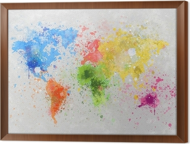 world map painting Framed Canvas