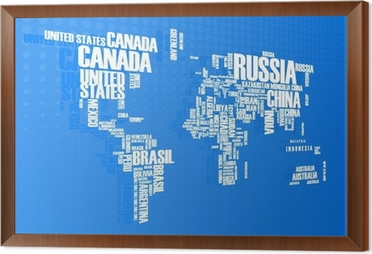 World mapthe contours of the country consists of the words wall world mapthe contours of the country consists of the words framed canvas gumiabroncs Choice Image