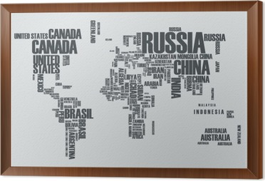 World mapthe contours of the country consists of the words poster world mapthe contours of the country consists of the words framed canvas gumiabroncs Choice Image