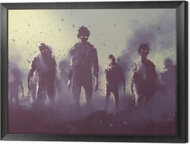 zombie crowd walking at night,halloween concept,illustration painting Framed Canvas