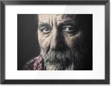 Very old homeless senior man portrait Framed Poster HD