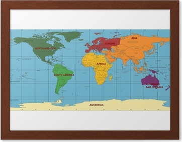 Detailed world map with names of continent and countries vector detailed world map with names of continent and countries vector wall mural pixers we live to change gumiabroncs Image collections