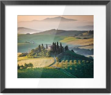 Mattino in Toscana, paesaggio e colline Framed Picture
