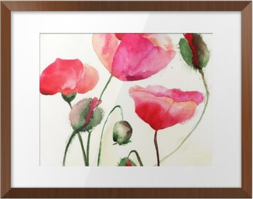 Stylized Poppy flowers illustration Framed Picture