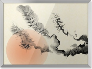 Branches of an old Pine tree, drawn in the style of sumi-e. Framed Poster
