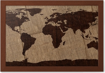Burlap world map canvas print pixers we live to change gumiabroncs Choice Image