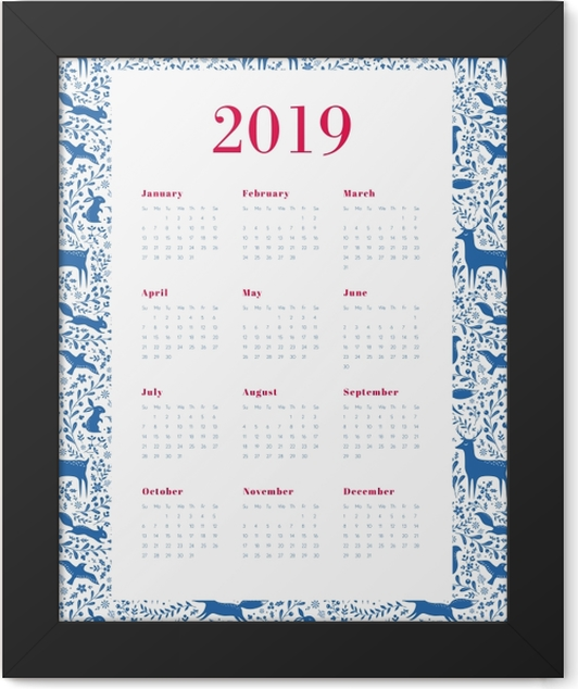 Calendar 2019 - Blue and white Framed Poster - Calendars 2019