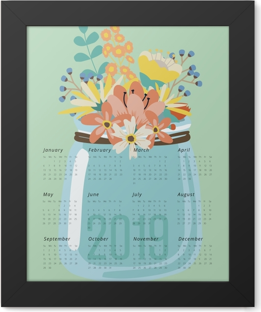 Calendar 2019 - flowers Framed Poster - Calendars 2019