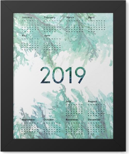 Calendar 2019 - Green Framed Poster - Calendars 2019