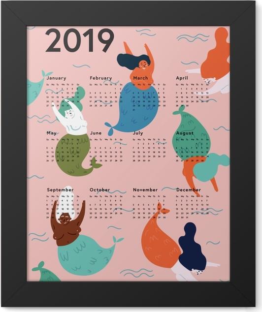 Calendar 2019 - mermaids Framed Poster - Calendars 2019