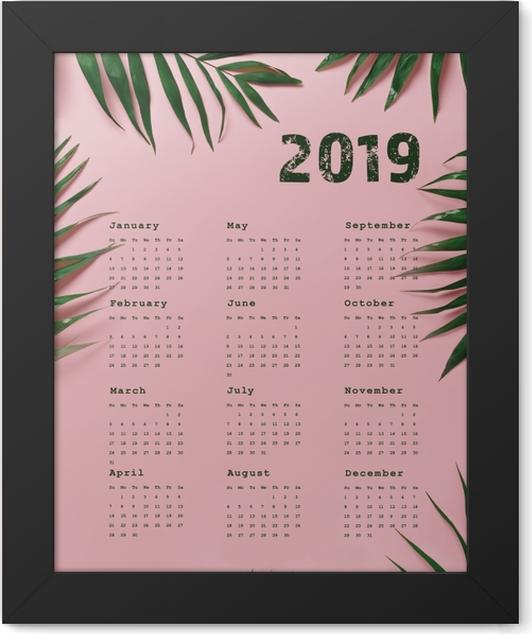 Calendar 2019 - pink and leaves Framed Poster - Calendars 2019