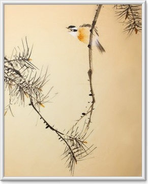 Chinese ink painting bird and plant Framed Poster