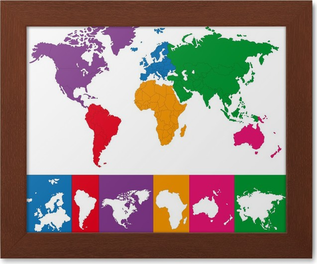 Color map of the world with continent borders framed poster pixers color map of the world with continent borders framed poster gumiabroncs Image collections