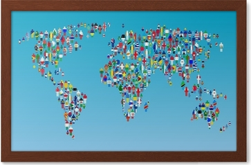 Globalisation world map with people made from flags wall mural globalisation world map with people made from flags wall mural pixers we live to change gumiabroncs Gallery