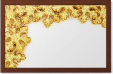 golden christmas border of shiny snowflake decorations wall mural