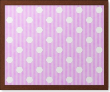 pink and white polka dot and stripes fabric background poster