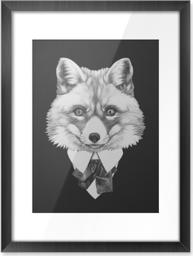 Portrait of Fox in suit. Hand drawn illustration. Framed Poster