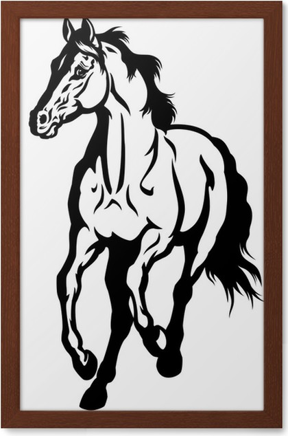 running horse black white Framed Poster • Pixers® • We live to change
