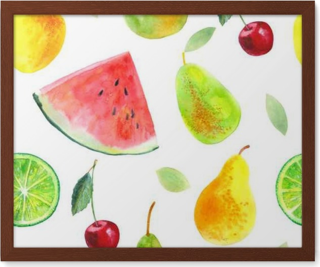 Seamless pattern with fruit.Watermelon lemon lime pears and cherry.Food picture.Watercolor hand drawn illustration. Framed Poster - Food