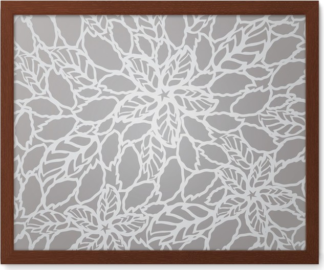 Seamless silver leaves and flowers lace wallpaper pattern Framed ...