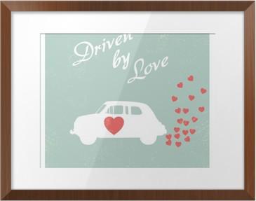 Vintage car driven by love romantic postcard design for Valentine card. Framed Poster