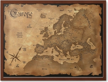Vintage Europe Map Horizontal Poster Pixers We Live To Change - Vintage europe map poster