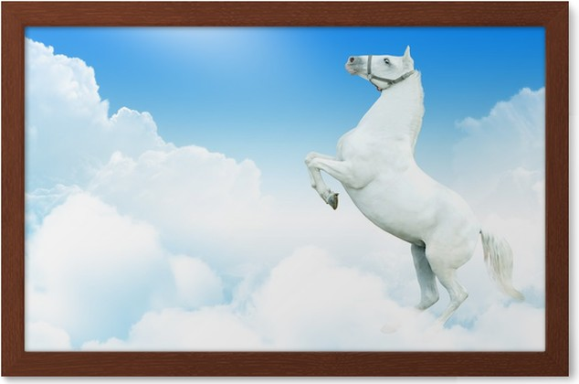 White horse in the clouds Framed Poster • Pixers® • We live to change