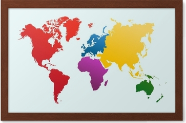 World Map Colorful Continents Atlas Eps10 Vector File Poster