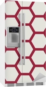 Abstract geometric red and white graphic design deco pattern Fridge Sticker