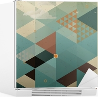 Abstract Retro Geometric Background with clouds Fridge Sticker