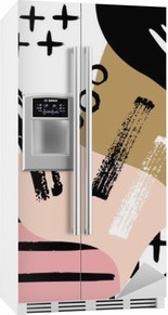 Abstract scandinavian composition in black, white and pastel pink. Fridge Sticker