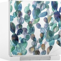 Cactus pattern in watercolor style. Fridge Sticker