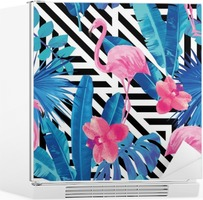 flamingo and orchids pattern, geometric background Fridge Sticker
