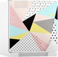 Geometric memphis background.Retro design for invitation, business card, poster or banner. Fridge Sticker
