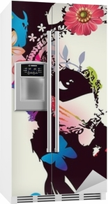 Girl with mask/Vector illustration Fridge Sticker