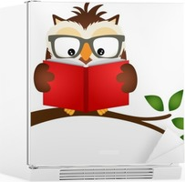 Owl reading a book on tree branch Fridge Sticker