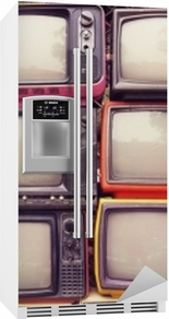 Pattern wall of pile colorful retro television (TV) - vintage filter effect style. Fridge Sticker