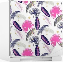 Pink and blue banana palm leaves seamless vector pattern on white background. Tropical banana jungle leaf. Glitter dots. Fridge Sticker
