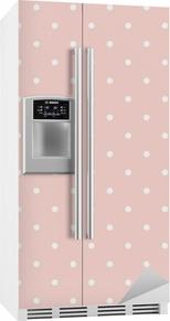 Polka dots on baby pink background seamless vector pattern Fridge Sticker
