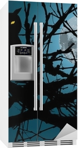 scary moonlight forest background with silhouette of owl Fridge Sticker