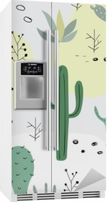Seamless pattern with succulents. Fridge Sticker