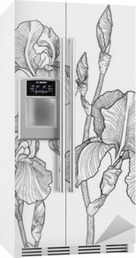 Sketch of bouquet of blooming irises Fridge Sticker