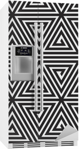 Triangles, Black and White Abstract Seamless Geometric Pattern, Fridge Sticker