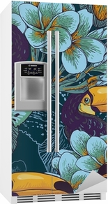Tropical seamless parrern with flowers and Toucan Fridge Sticker