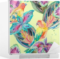Watercolor Parrots .Tropical flower and leaves. Exotic. Fridge Sticker