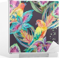 Watercolor Parrots .Tropical flower and leaves. Fridge Sticker