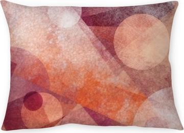 Funda de almohada Diseño de fondo geométrico moderno abstracto con diversas texturas y formas, cuadrados flotantes diamantes y triángulos en colores rosados blancos y burdeos naranja, diseño de composición artística
