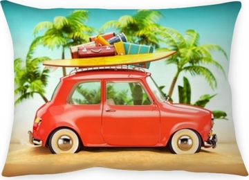 Funda de almohada Ilustración de viaje de verano